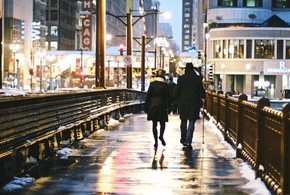 Evening street people man woman cold chicago lights mood wallpaper 1