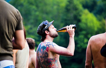 Rock drinking beer jpg