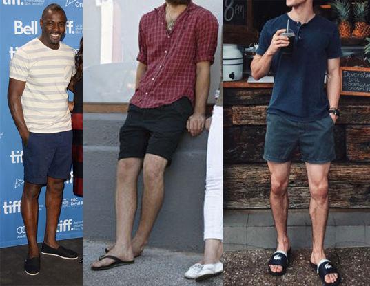 Moda praia masculina com shorts, bermudas e t-shirts